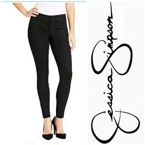 Jessica Simpson Coated Super Skinny Black Jeans 8